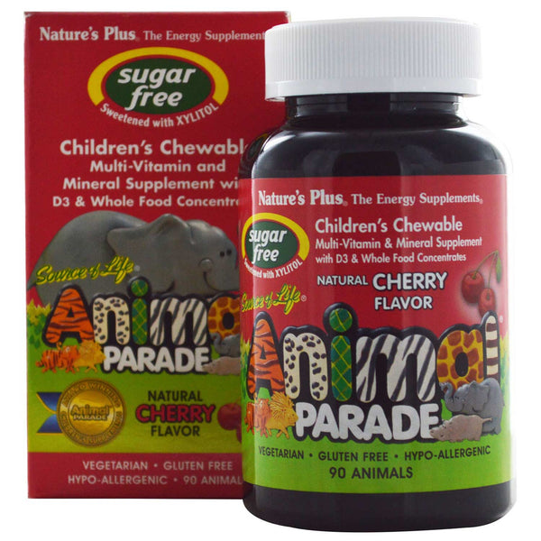 Natures Plus Source of Life Animal Parade Multi-Vitamin & Mineral - Cherry (Sugar-Free), 90 tabs.