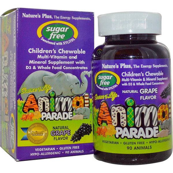 Natures Plus Source of Life Animal Parade Multi-Vitamin & Mineral - Grape (Sugar-Free), 90 tabs.