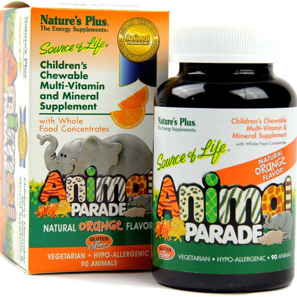 Natures Plus Gluten Free Animal Parade Multi-Vitamin & Mineral (Orange), 90 tabs.