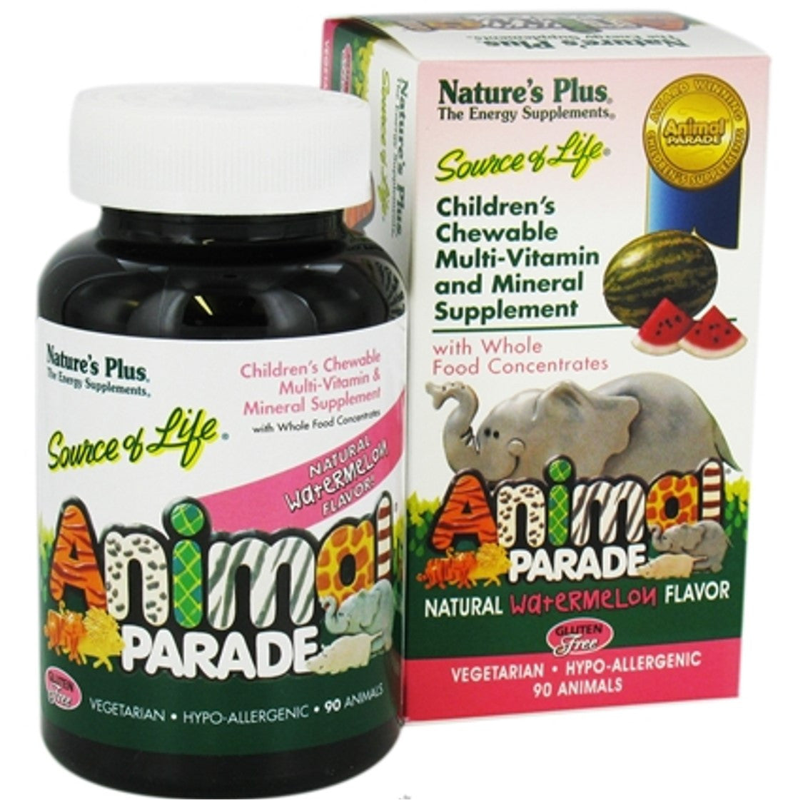 Natures Plus Source of Life Animal Parade Multi-Vitamin & Mineral (Water Melon), 90 tabs.
