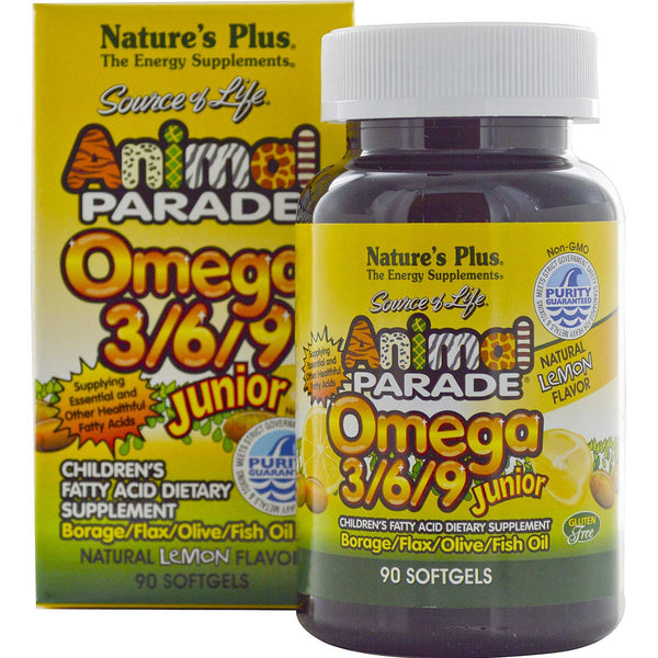 Natures Plus Source of Life Animal Parade Omega 3/6/9 Junior - Lemon, 90 sgls.