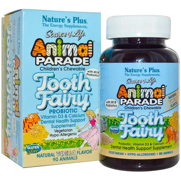 Natures Plus Source of Life Animal Parade Tooth Fairy Children's Chewable - Vanilla, 90 tabs.