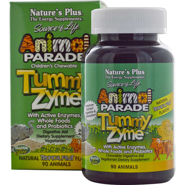 Natures Plus Source of Life Animal Parade Tummy Zyme Chewable - Tropical Fruit, 90 tabs.