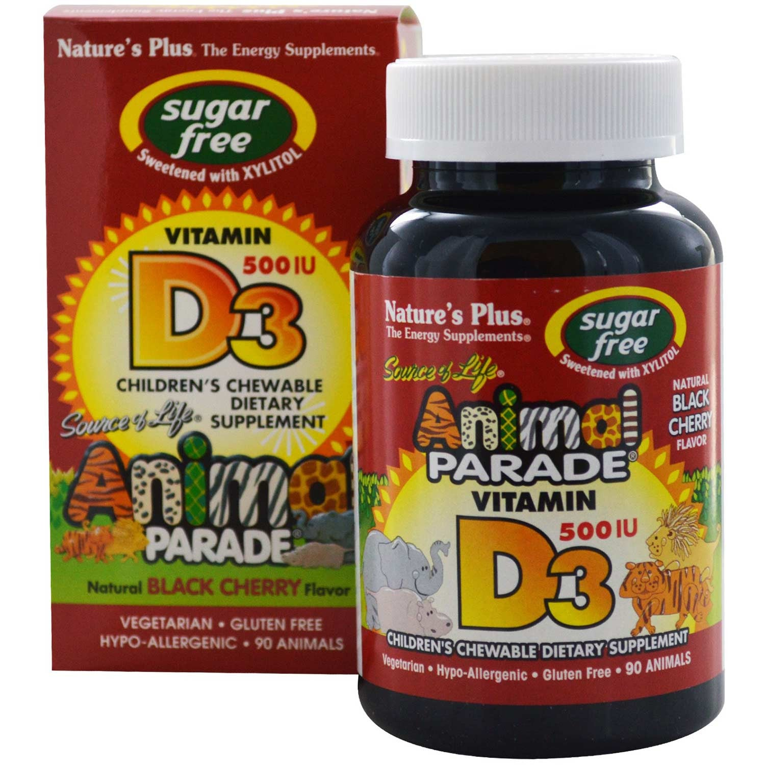 Natures Plus Source of Life Animal Parade Vitamin D3 500 IU Chewable - Black Cherry (Sugar-Free), 90 tabs.-NaturesWisdom