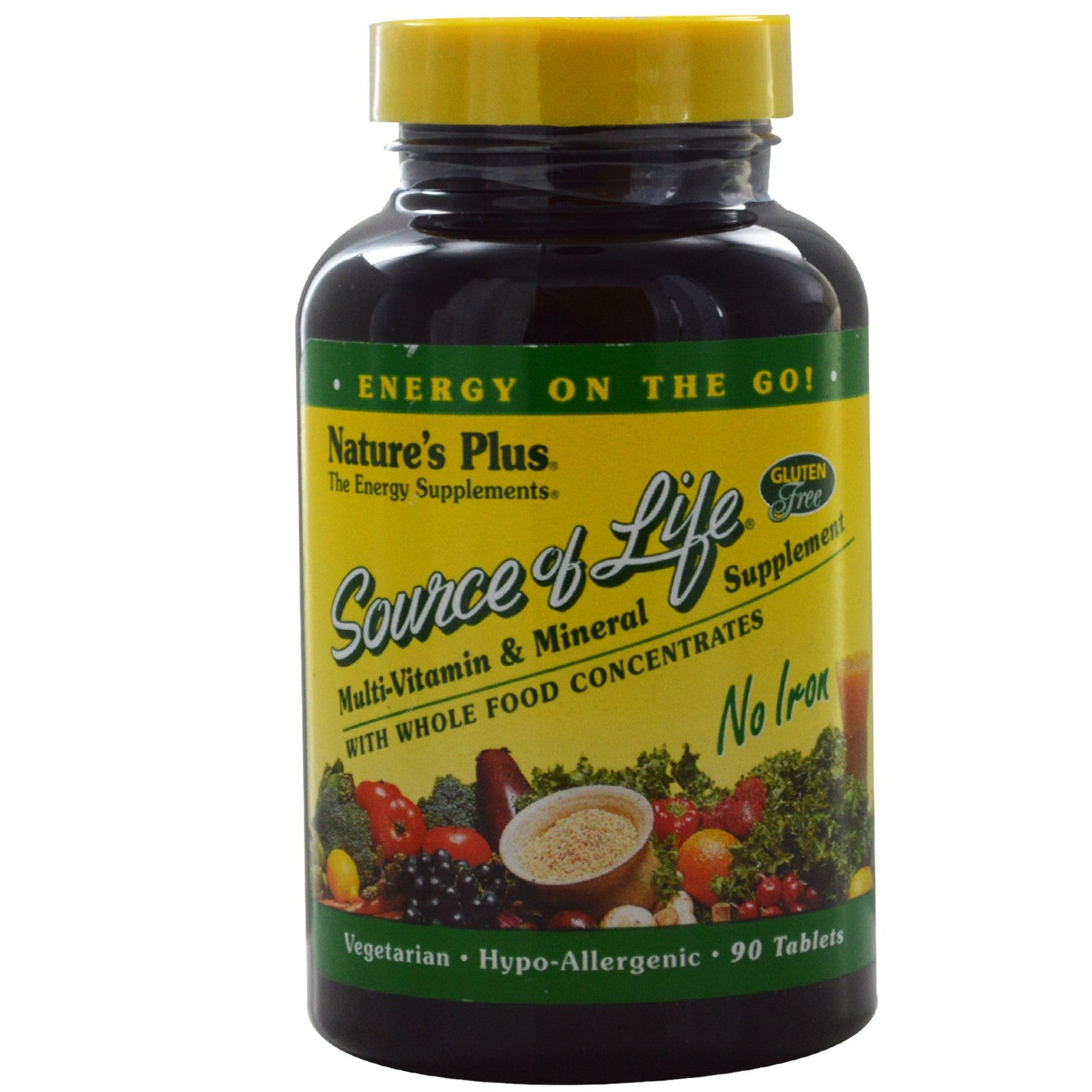 Natures Plus Source of Life Multi-Vitamin & Mineral Tablets (No Iron), 90 tabs.-NaturesWisdom