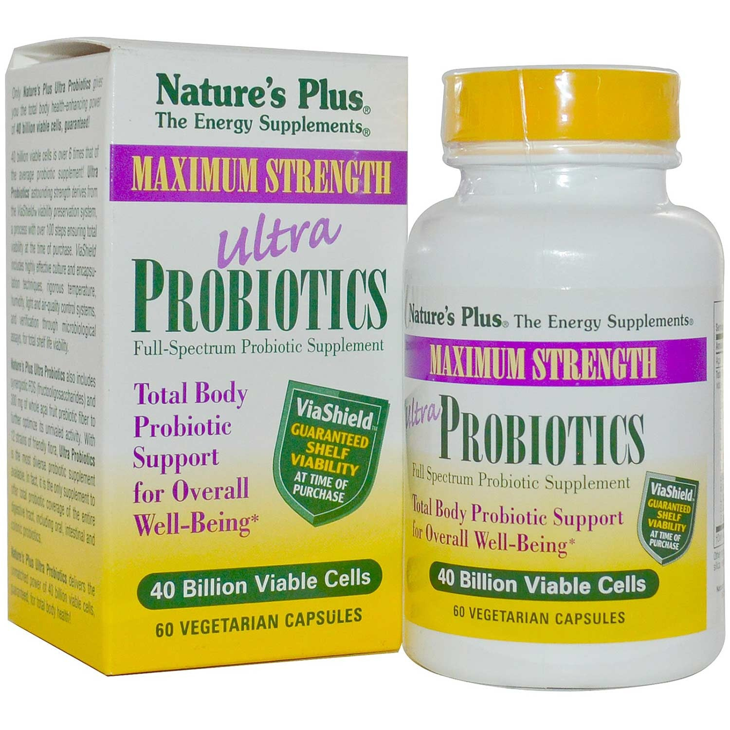 Natures Plus Ultra Probiotics - 40 Billion Live Cells/12 Strains (Vcaps), 60 caps.-NaturesWisdom