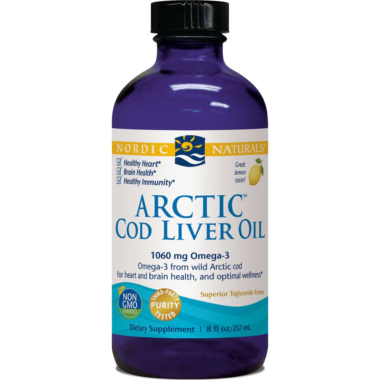 Nordic Naturals Arctic Cod Liver Oil - Lemon, 237 ml.-NaturesWisdom