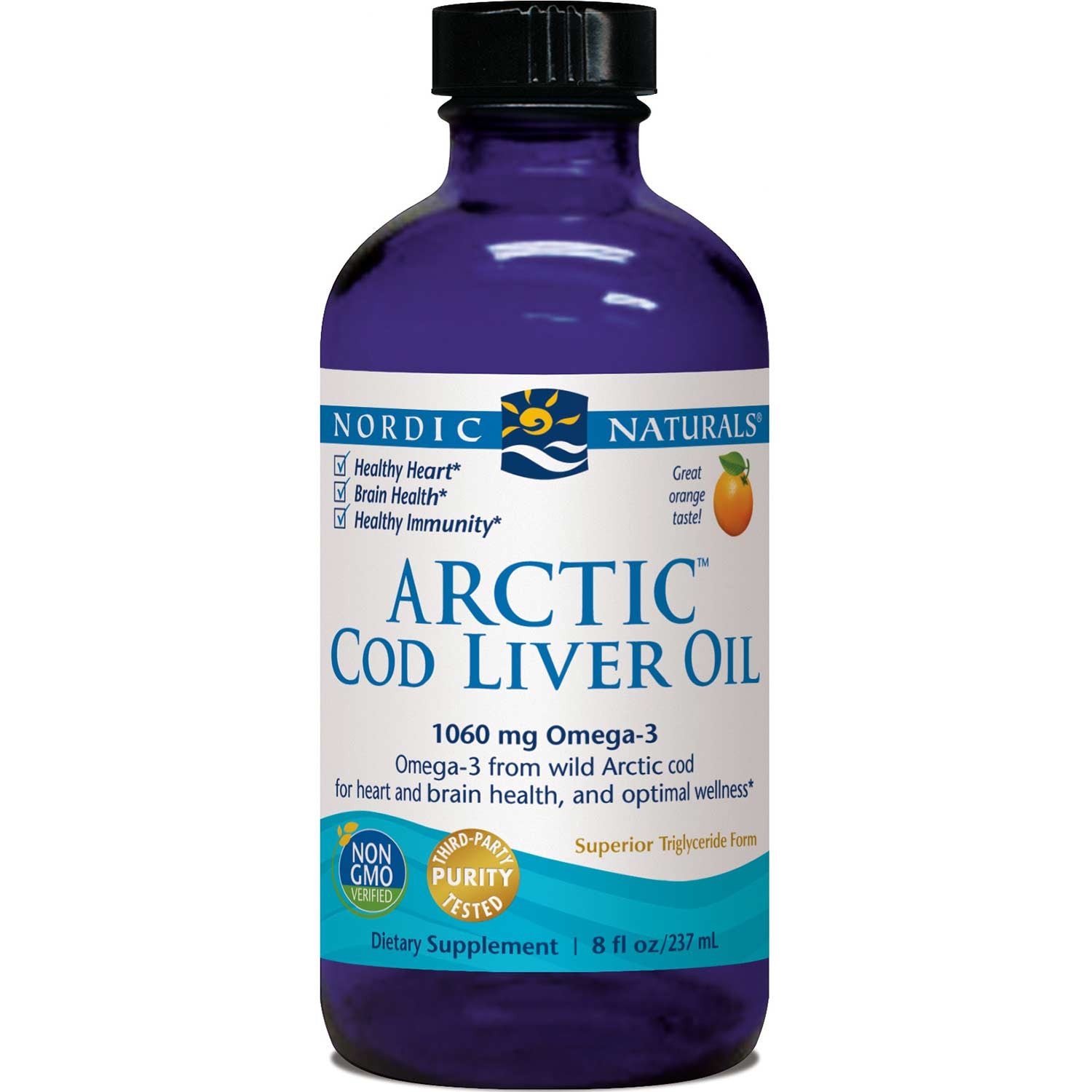 Nordic Naturals Arctic Cod Liver Oil - Orange, 237 ml.-NaturesWisdom