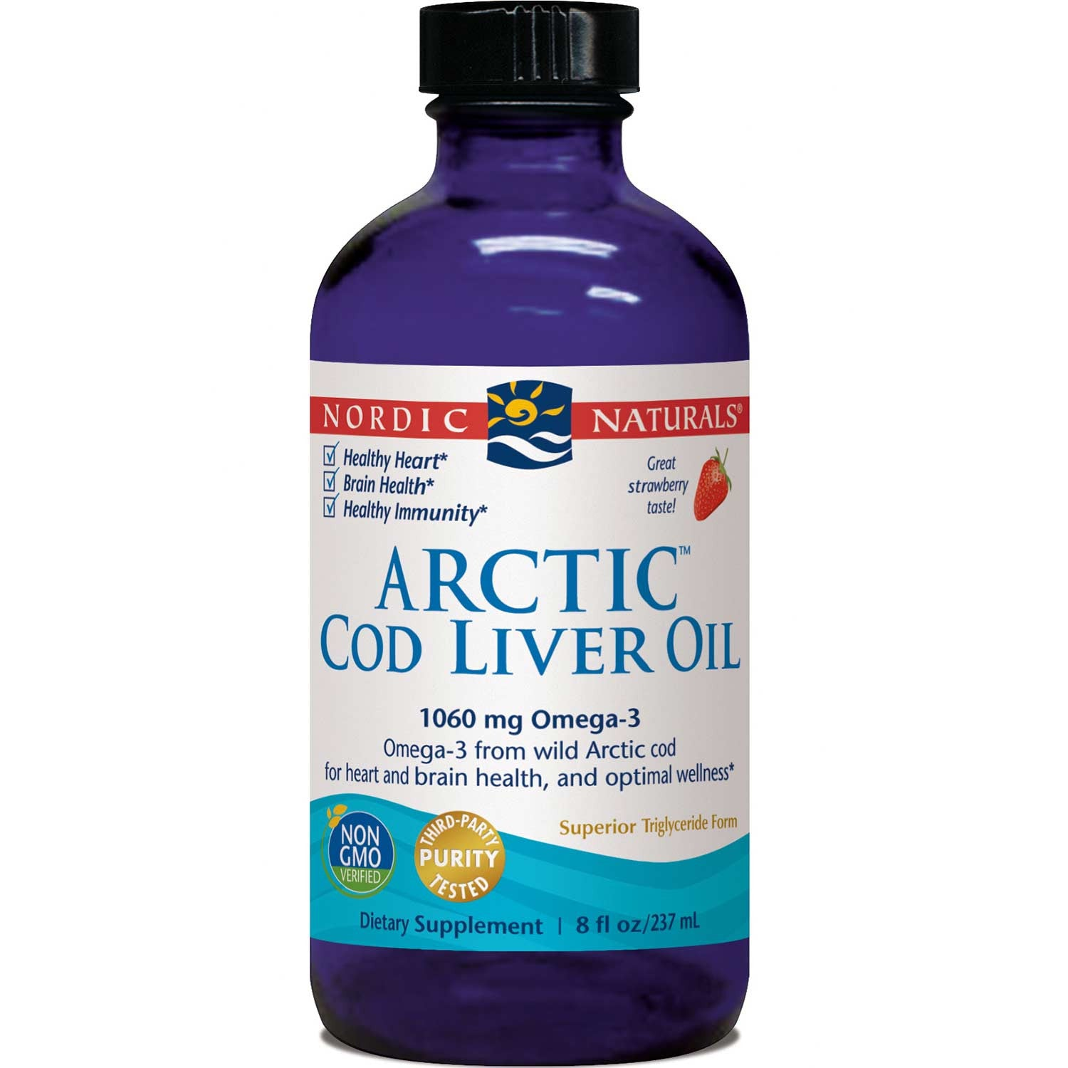 Nordic Naturals Arctic Cod Liver Oil - Strawberry, 237 ml.-NaturesWisdom