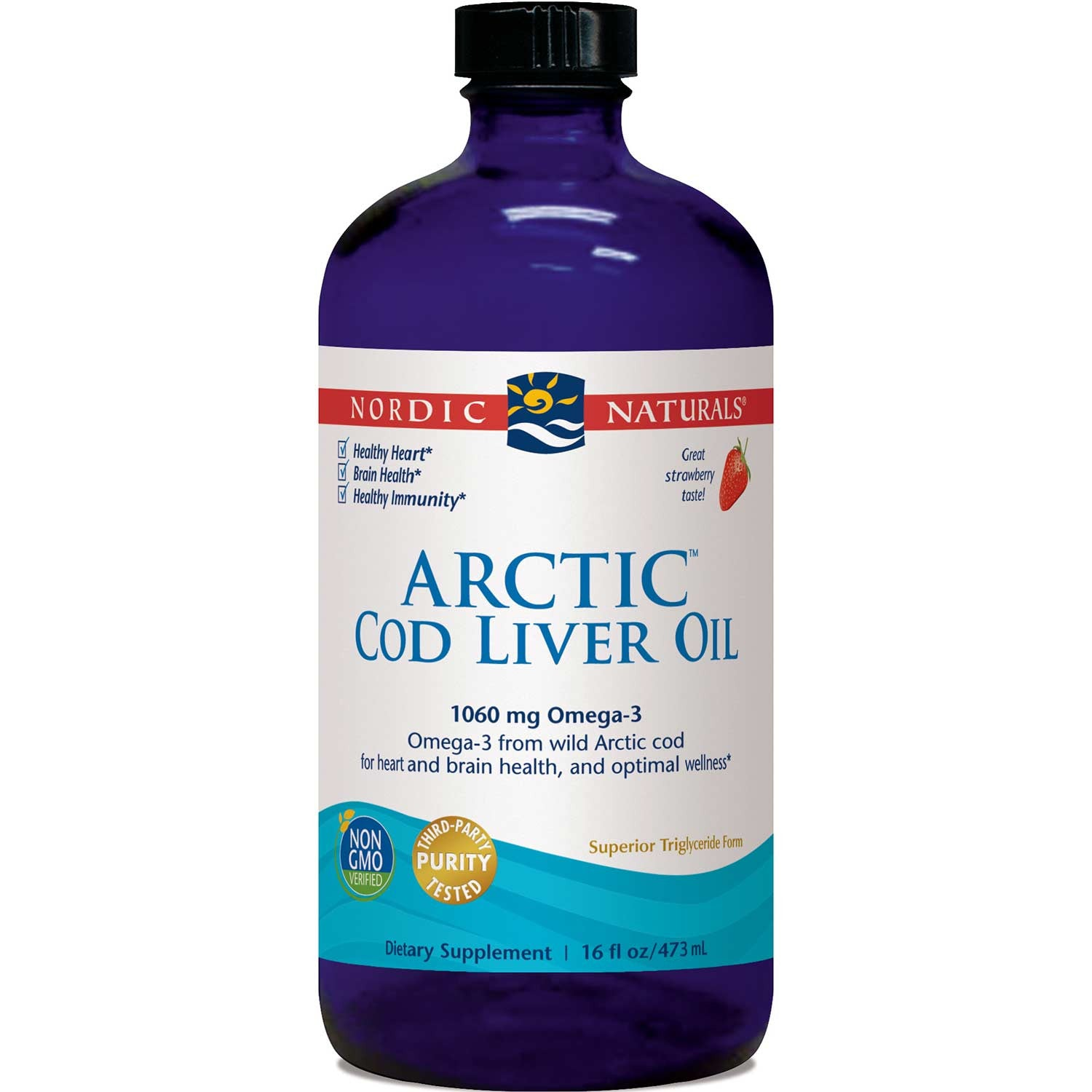 Nordic Naturals Arctic Cod Liver Oil - Strawberry, 473 ml.-NaturesWisdom