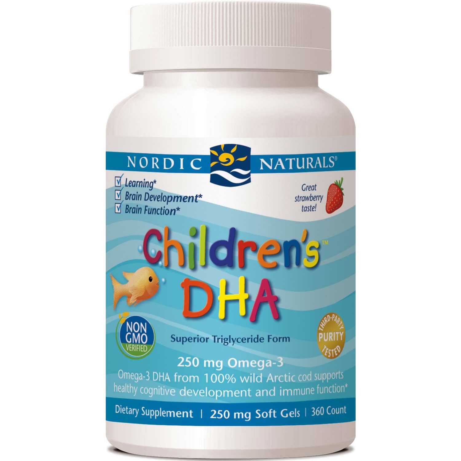 Nordic Naturals Children's DHA 250 mg - Strawberry, 360 sgls.-NaturesWisdom