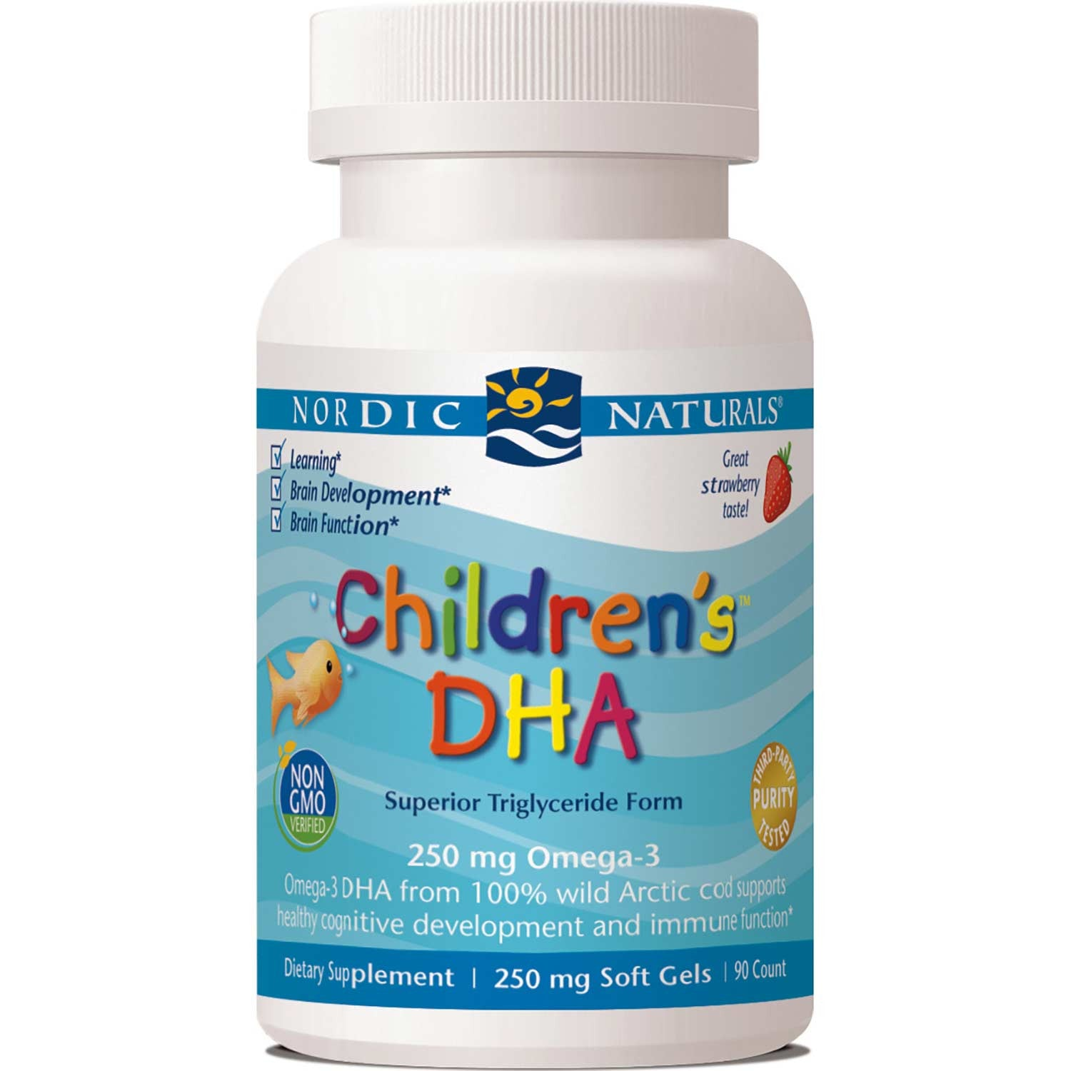 Nordic Naturals Children's DHA 250 mg - Strawberry, 90 sgls.-NaturesWisdom