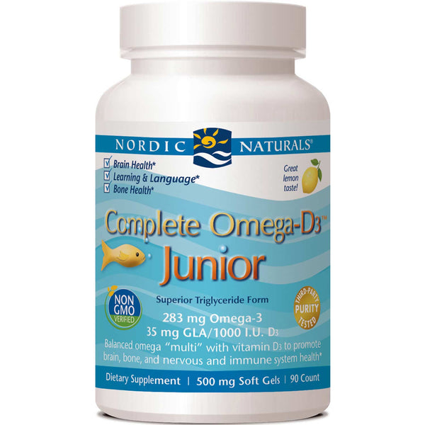 Nordic Naturals Complete Omega-D3 Junior 500 mg - Lemon, 90 sgls.
