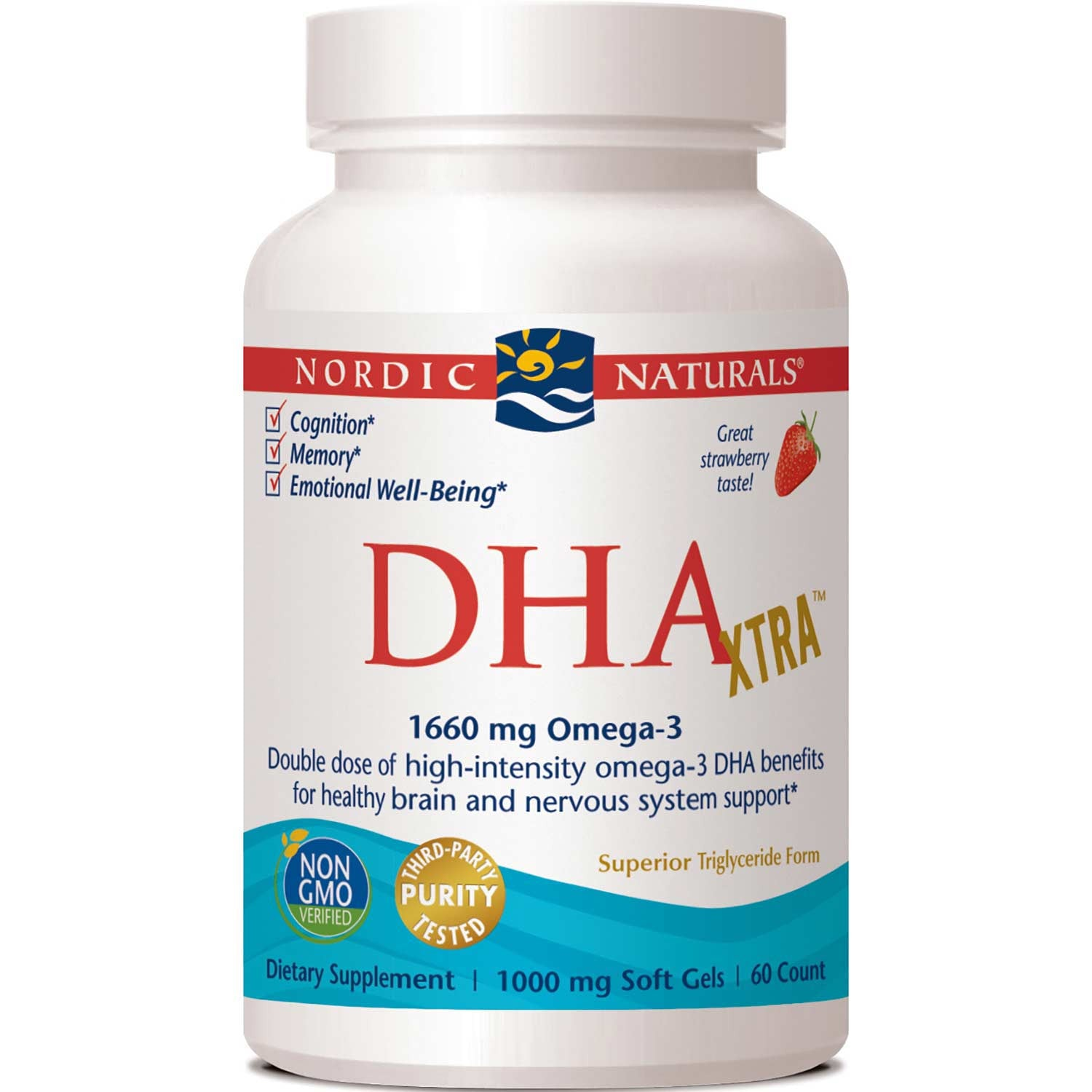 Nordic Naturals DHA Xtra 1000 mg - Strawberry, 60 sgls.-NaturesWisdom