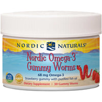Nordic Naturals Nordic Omega-3 Gummy Worms - Strawberry, 30 gums.-NaturesWisdom
