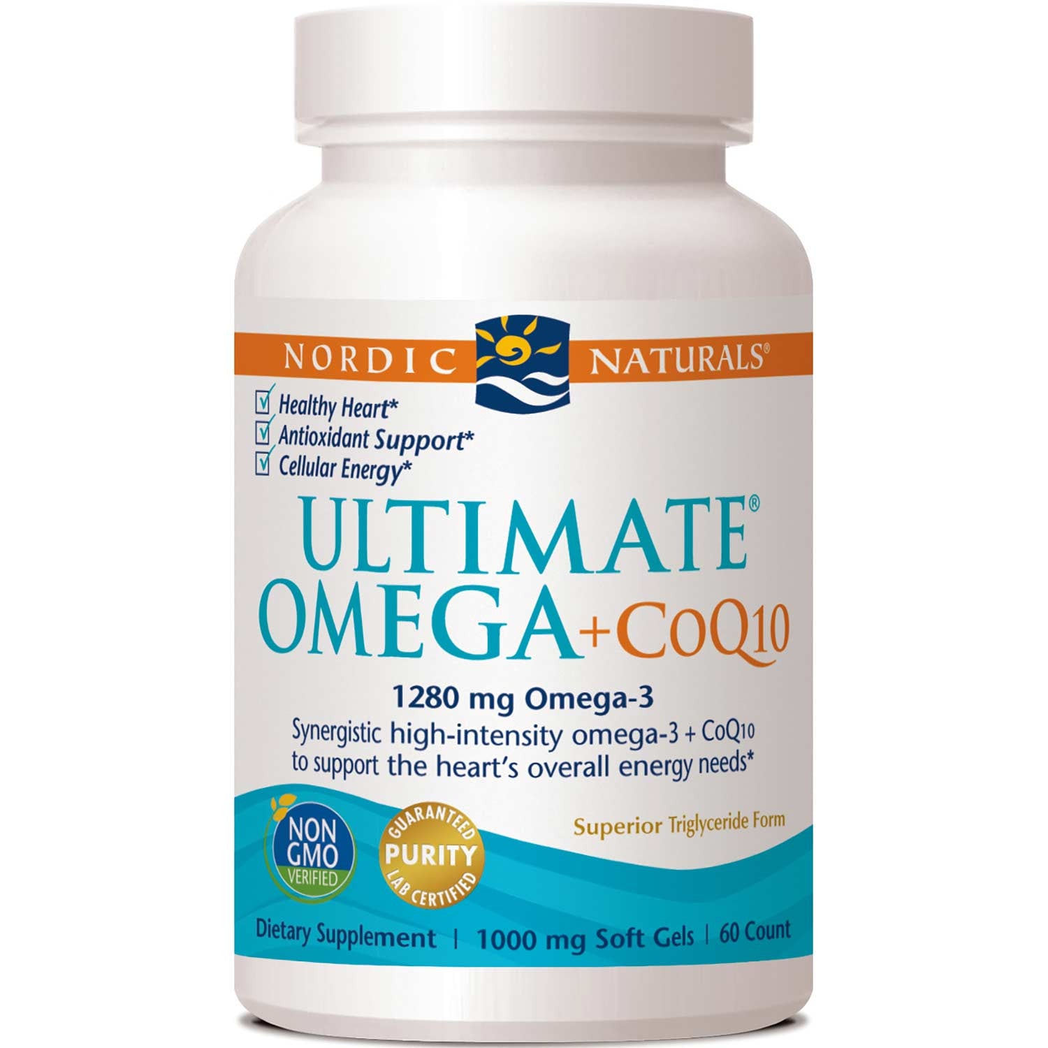 Nordic Naturals Ultimate Omega + CoQ10 1000 mg - Plain, 60 sgls.-NaturesWisdom