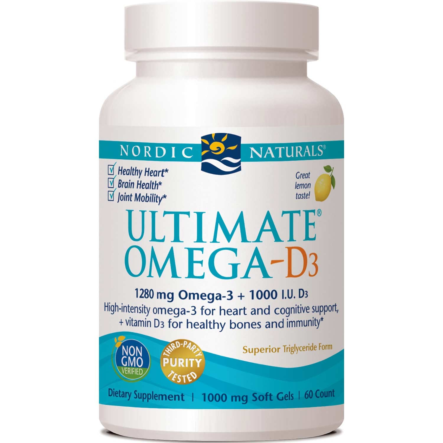 Nordic Naturals Ultimate Omega-D3 1000 mg - Lemon, 60 sgls.-NaturesWisdom
