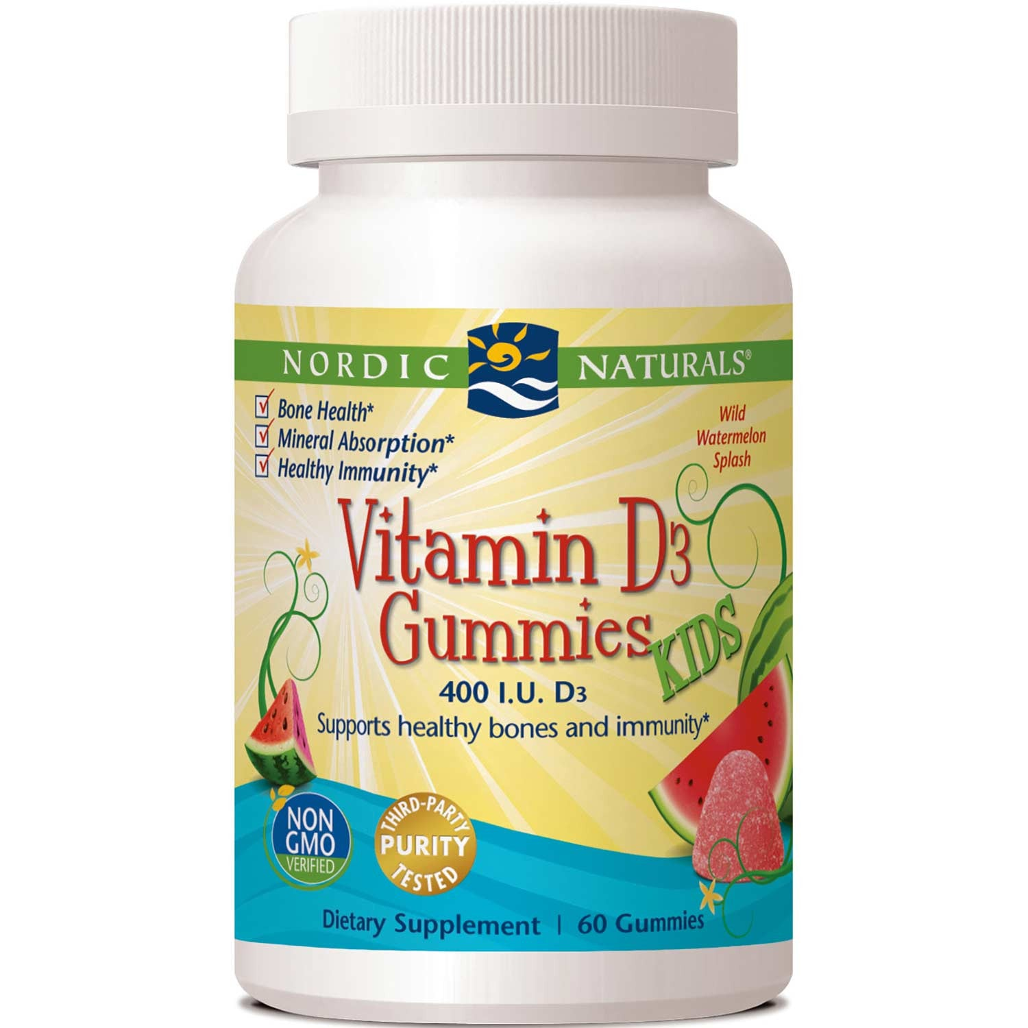 Nordic Naturals Vitamin D3 Gummies KIDS - Wild Watermelon Splash, 60 gums.-NaturesWisdom
