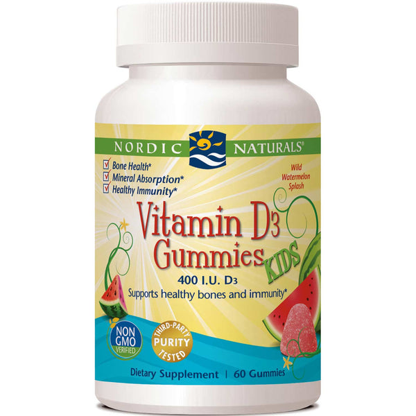 Nordic Naturals Vitamin D3 Gummies KIDS - Wild Watermelon Splash, 60 gums.
