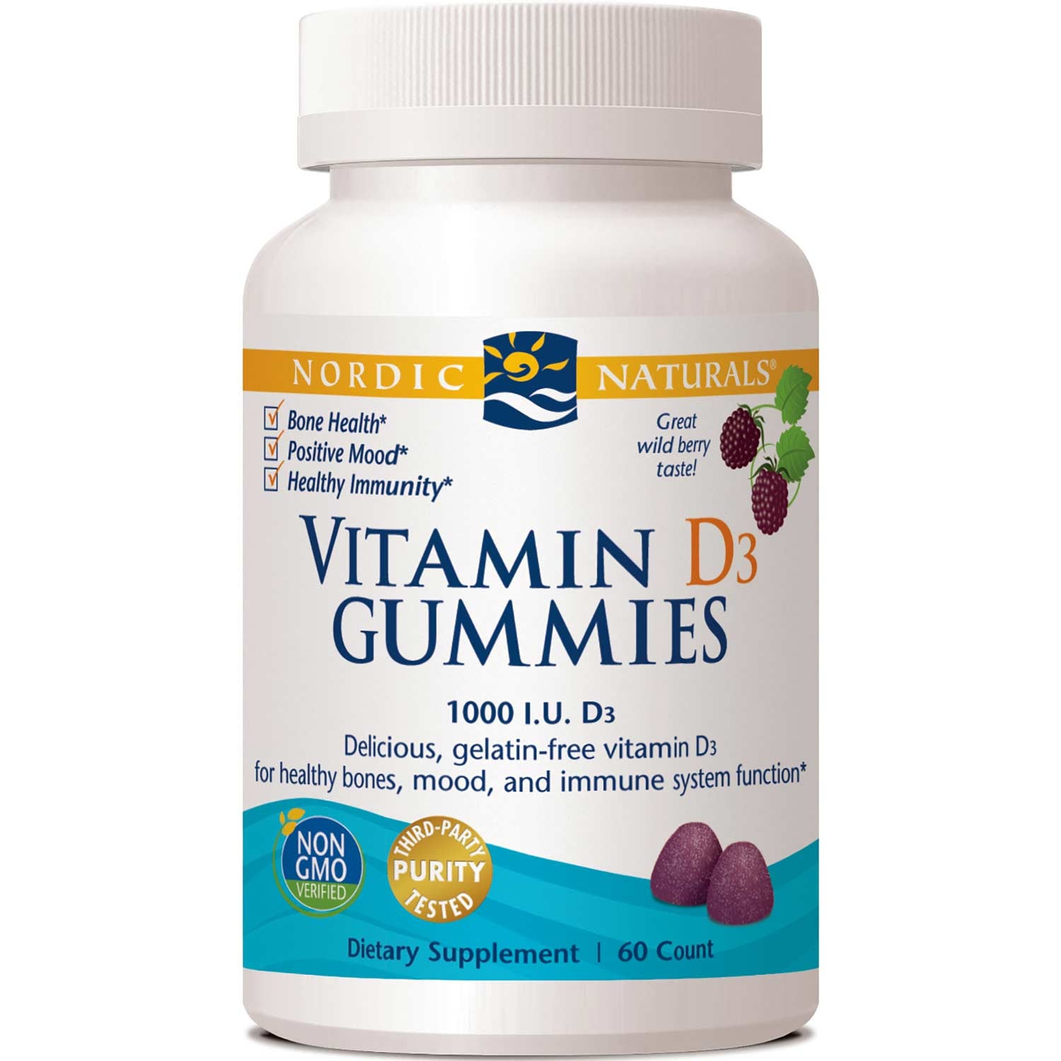 Nordic Naturals Vitamin D3 Gummies - Wild Berry, 60 gums.-NaturesWisdom