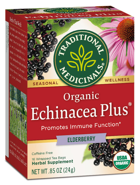 Traditional Medicinals Organic Echinacea Plus Elderberry Tea, 16 bags