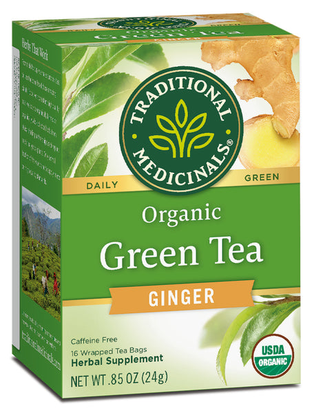 Traditional Medicinals Organic Green Tea with Ginger, 16 bags