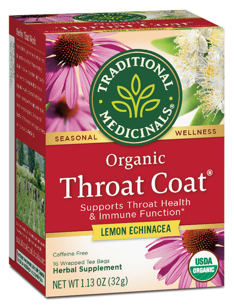 Traditional Medicinals Organic Throat Coat Lemon Echinacea, 16 bags