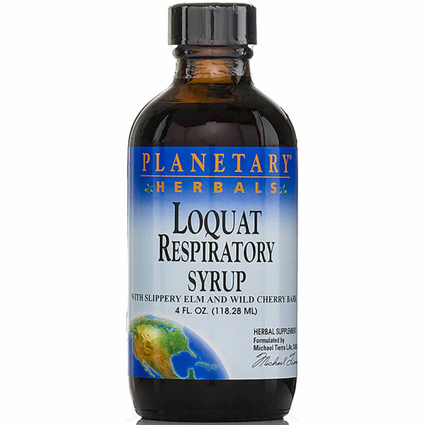 Planetary Herbals Loquat Respiratory Syrup (w/ Slippery Elm and Cherry Bark), 118.28 ml.