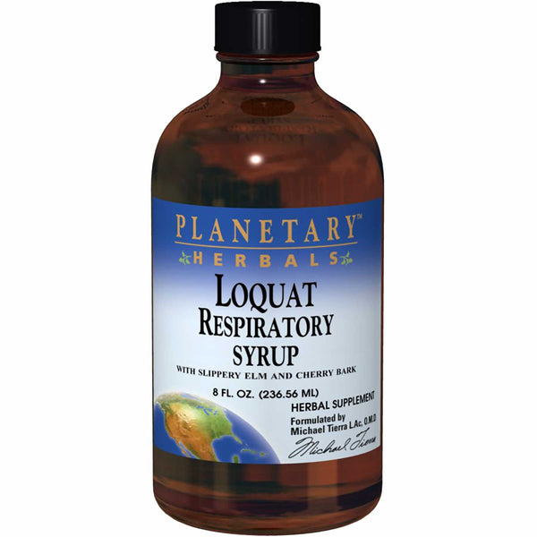 Planetary Herbals Loquat Respiratory Syrup (w/ Slippery Elm and Cherry Bark), 236.56 ml.