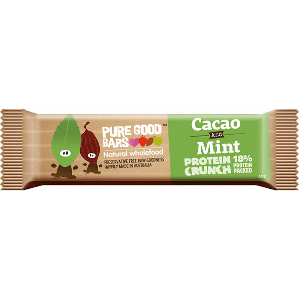 Pure Good Bars -Cacao & Mint Protein Crunch, 40g.