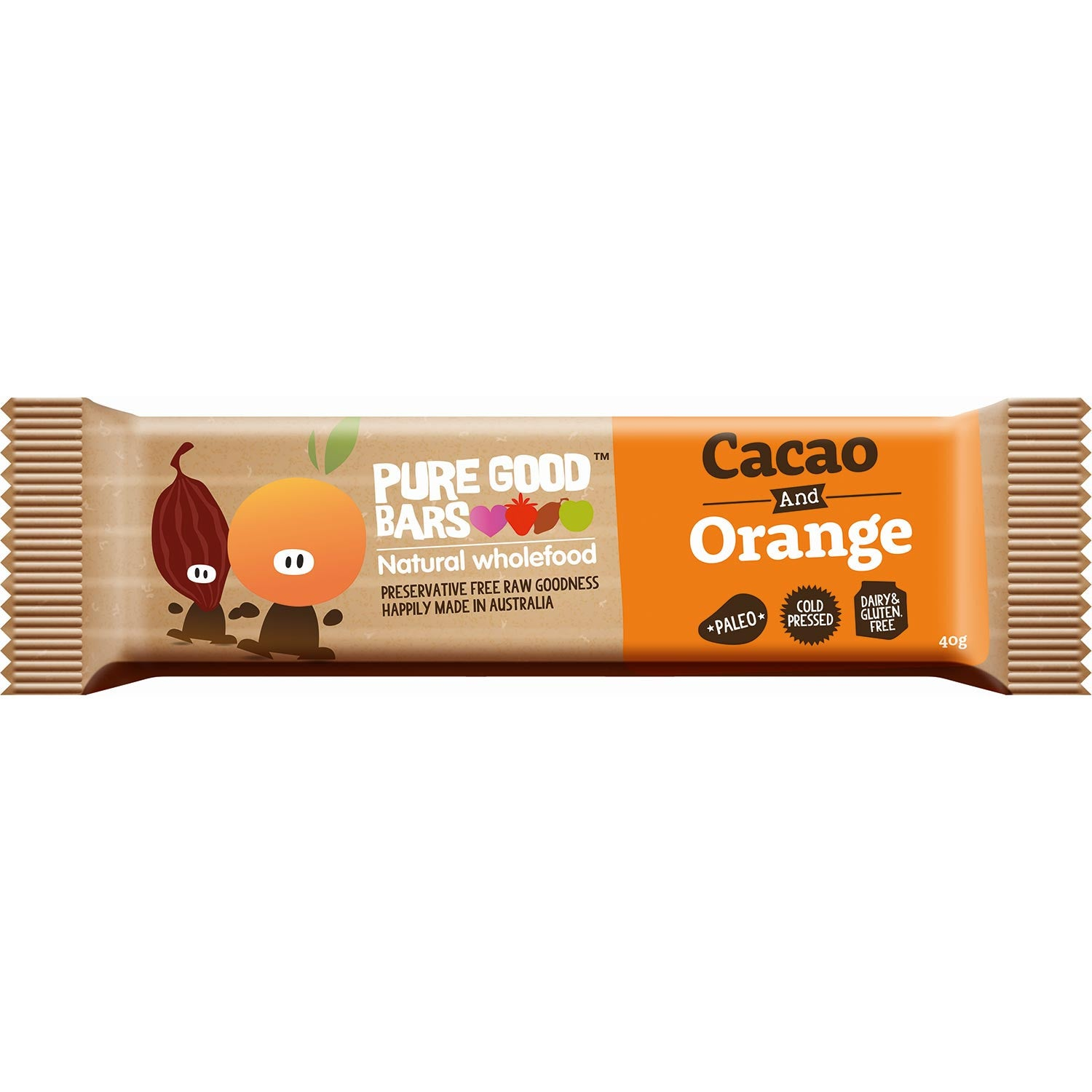 Pure Good Bars -Cocao and Orange, 40g.