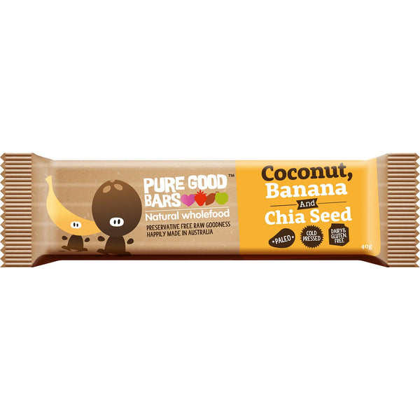 Pure Good Bars -Coconut, Banana and Chia Seed, 40g.