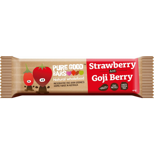 Pure Good Bars -Strawberry and Goji Berry, 40g.