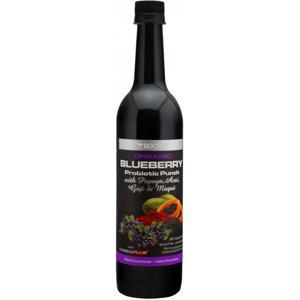 Rochway Organic Blueberry Probiotic Punch w/Papaya, Acai, Goji & Maqui, 750ml.