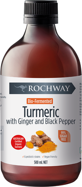 Rochway Bio-Fermented Turmeric with Ginger & Black Pepper, 500 ml.