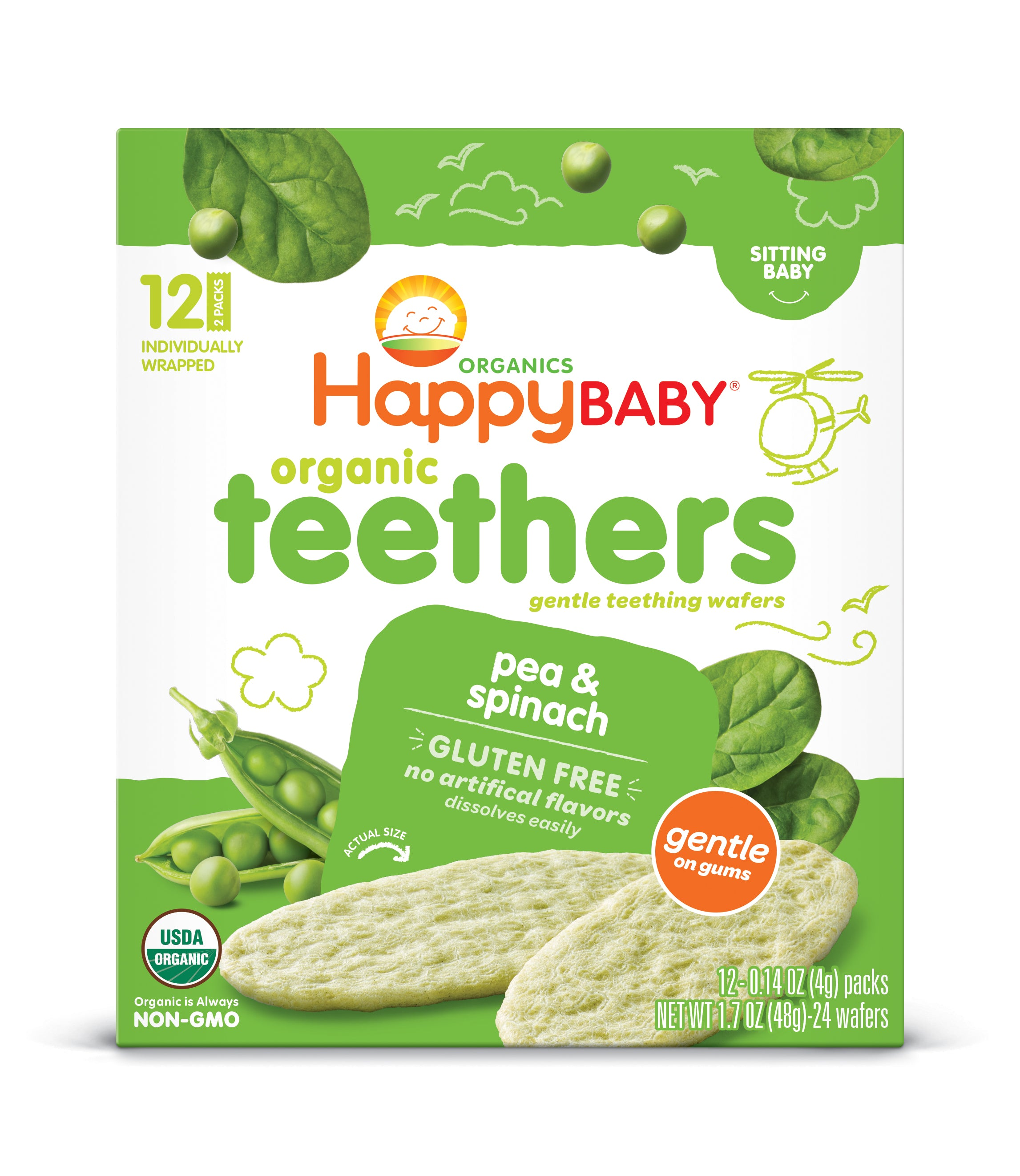 Happy Family Happy Baby Gentle Teethers - Pea & Spinach, 12 x 4 g.