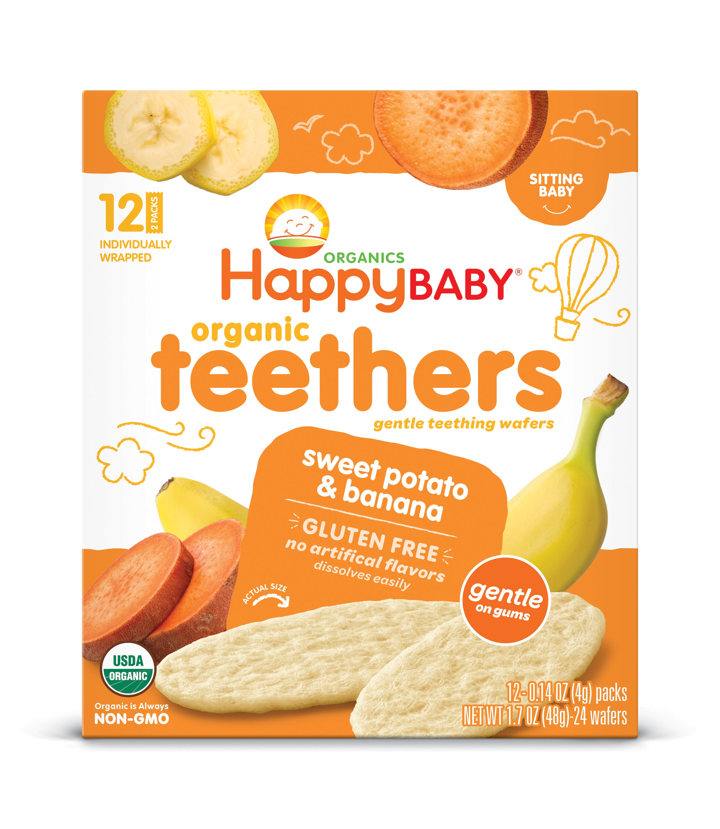 Happy Family Happy Baby Gentle Teethers - Banana & Sweet Potato, 12 x 4 g.