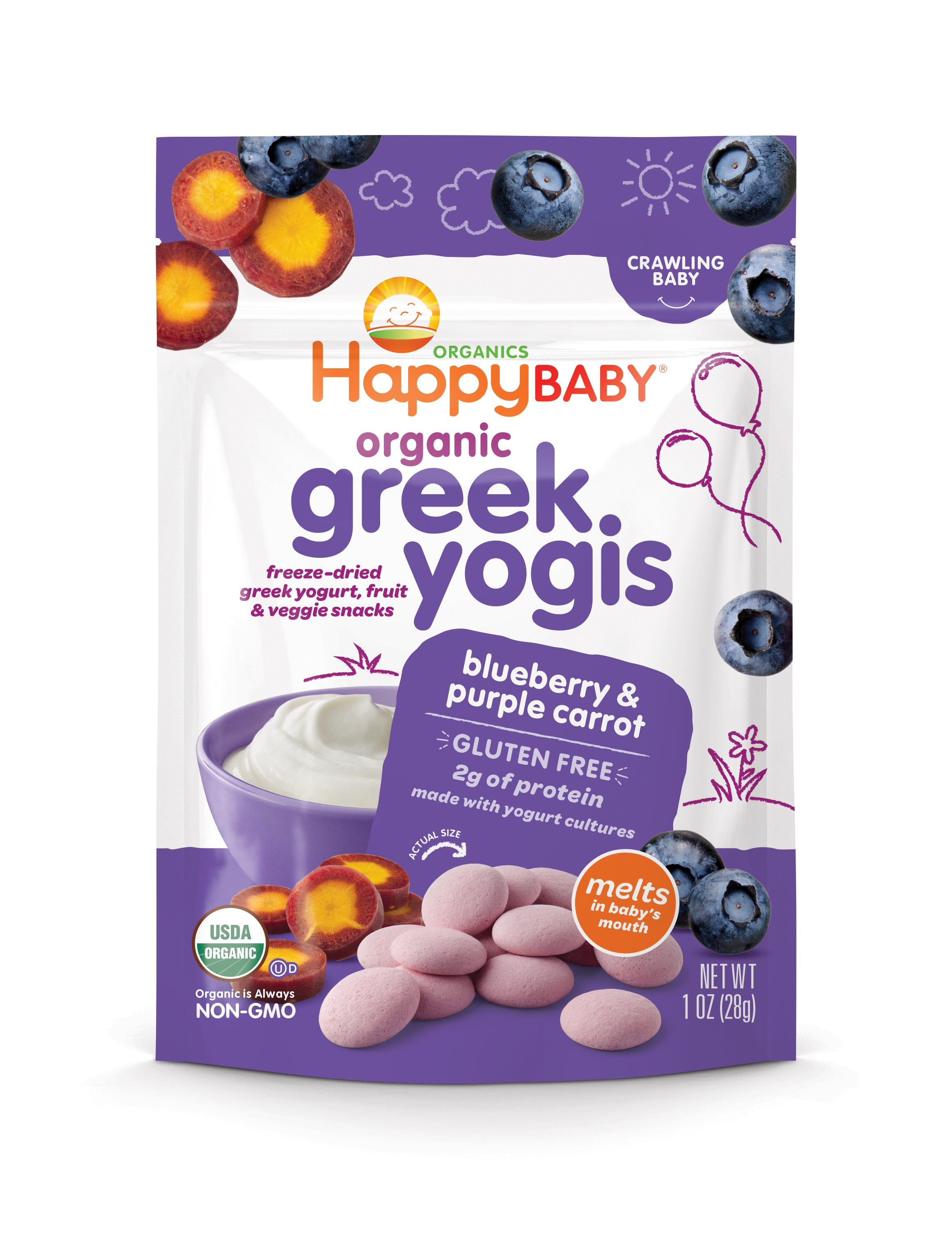 Happy Family Happy Baby Organic Greek Yogis - Blueberry Purple Carrot, 28 g.