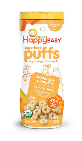 Happy Family Happy Baby Superfood Puffs - Banana & Pumpkin (Gluten-Free), 60 g.