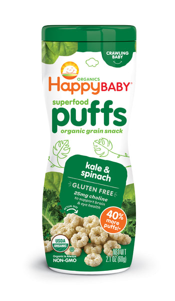 Happy Family Happy Baby Superfood Puffs - Kale & Spinach (Gluten-Free), 60 g.