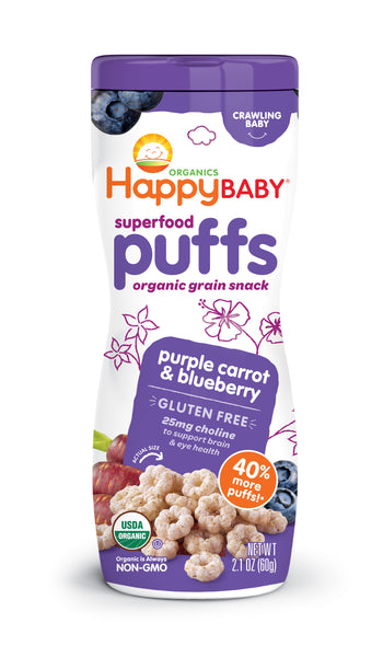 Happy Family Happy Baby Superfood Puffs - Purple Carrot & Blueberry (Gluten-Free), 60 g.