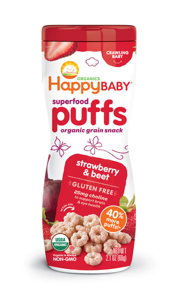Happy Family Happy Baby Superfood Puffs - Strawberry & Beet (Gluten-Free), 60 g.