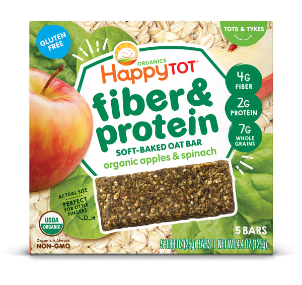 Happy Family Happy Tot Fiber & Protein Soft-Baked Oat Bar - Apple & Spinach, 5 x 25 g.