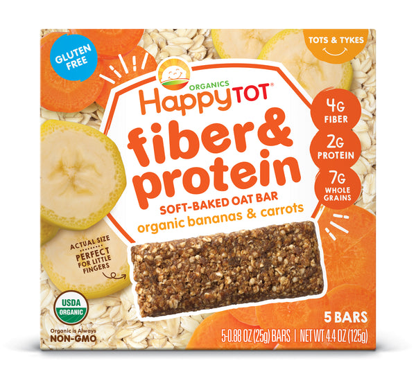 Happy Family Happy Tot Fiber & Protein Soft-Baked Oat Bar - Bananas & Carrots, 5 x 25 g.