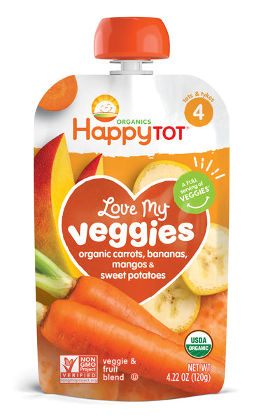 Happy Family Happy Tot Love My Veggies - Carrot, Banana, Mango & Sweet Potato, 120 g.