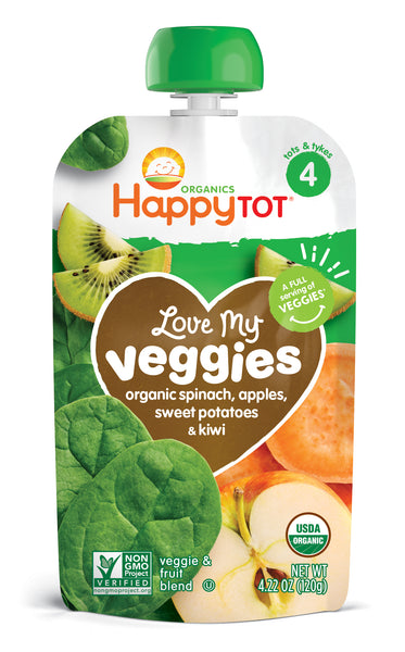 Happy Family Happy Tot Love My Veggies - Spinach, Apple, Sweet Potato & Kiwi, 120 g.