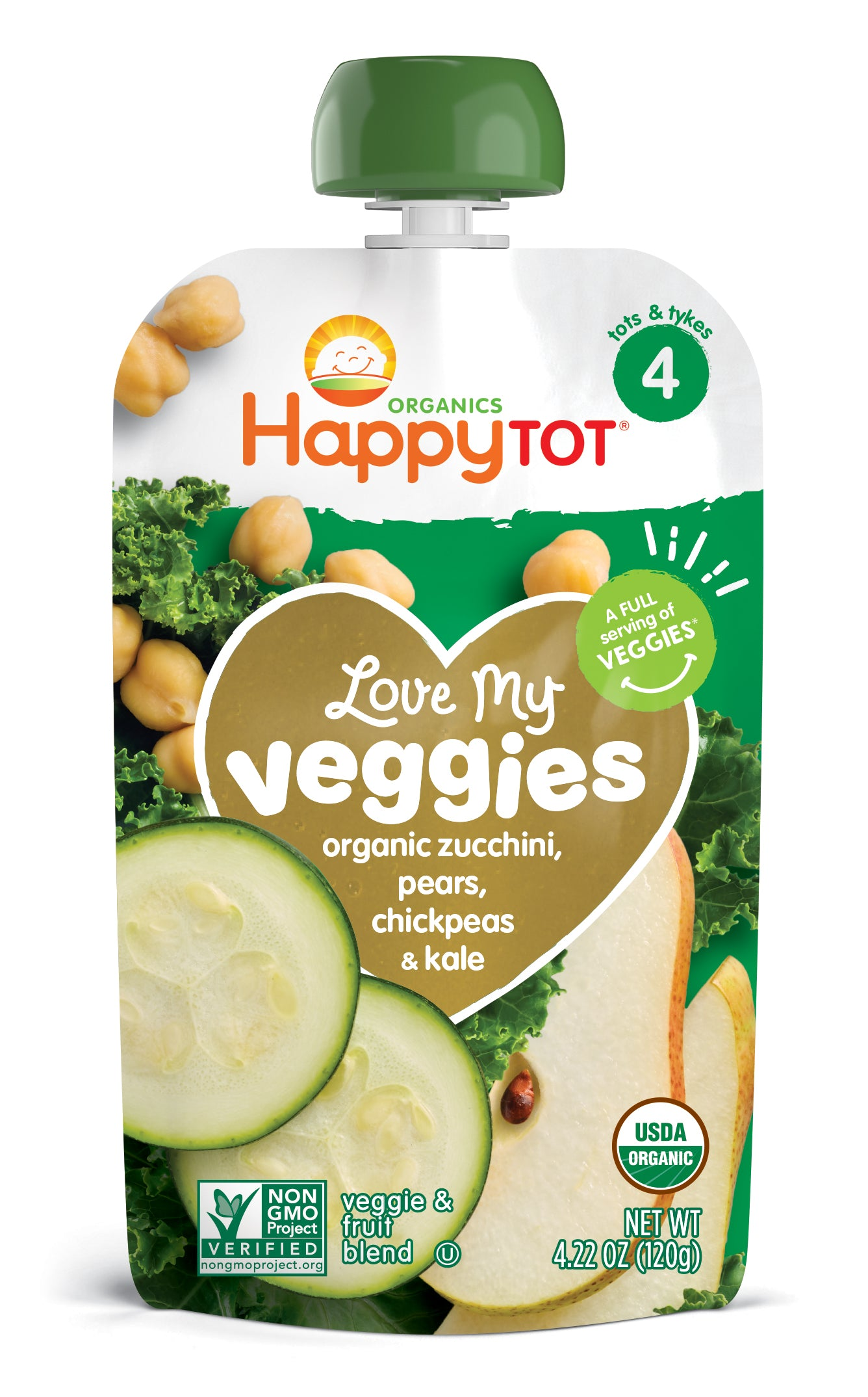 Happy Family Happy Tot Love My Veggies - Zucchinis, Pears, Chickpeas & Kale, 120 g.