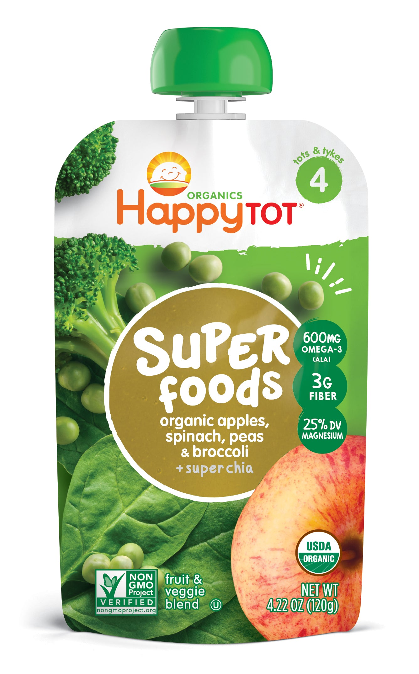 Happy Family Happy Tot Superfoods - Apples, Spinach, Peas & Broccoli, 120 g.