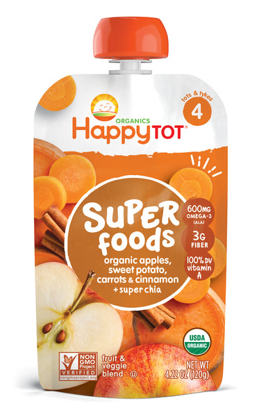 Happy Family Happy Tot Superfoods - Apples, Sweet Potato, Carrots & Cinnamon, 120 g.