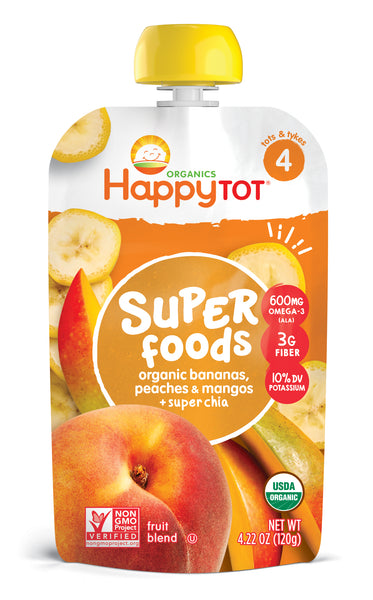 Happy Family Happy Tot Superfoods - Bananas, Peaches & Mangos, 120 g.